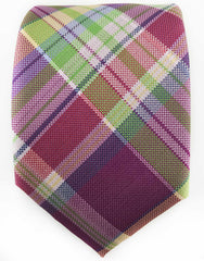 Purple & Green Plaid Extra Long Tie