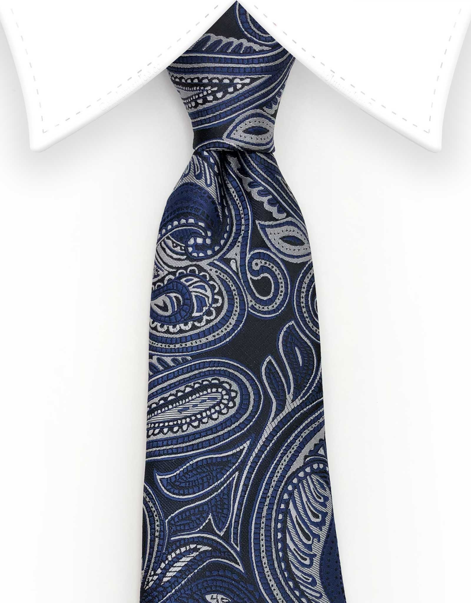extra long navy blue paisley tie