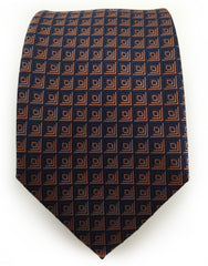 navy necktie with burnt orange square design