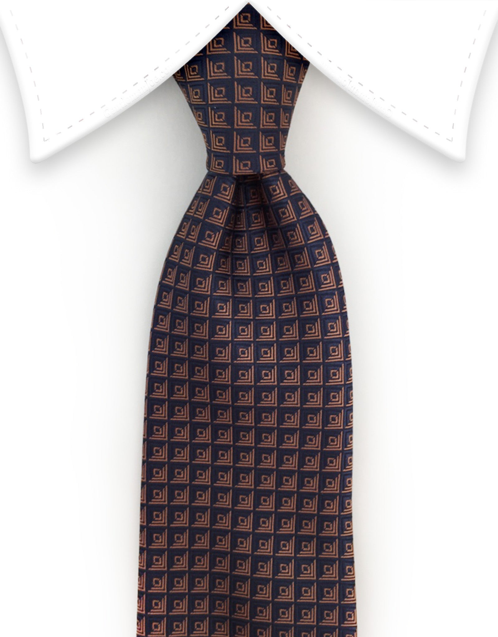 navy tie with orange squares