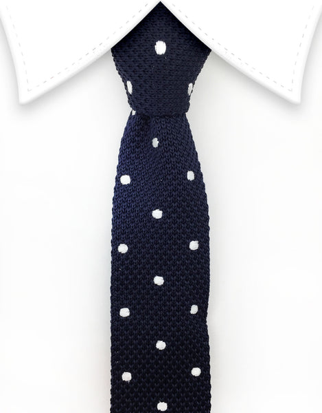 Navy Blue Knit Tie with White Polka Dots