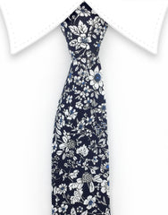 navy cotton tie with white flowers