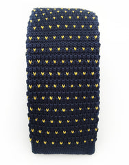 Navy Blue & Yellow Knit Tie