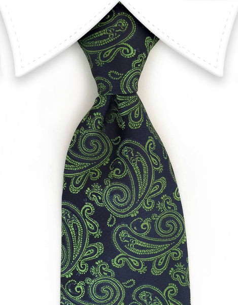 Navy blue & green paisley tie