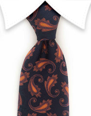 Navy blue and orange paisley tie