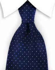 Navy blue tie with pin dots