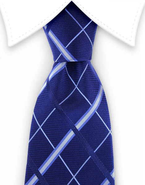 navy blue plaid tie