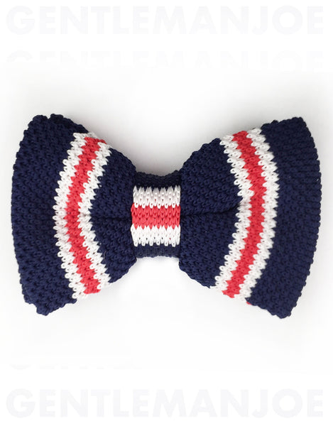 navy, red, white stripe bow tie