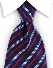 Navy blue & red striped tie
