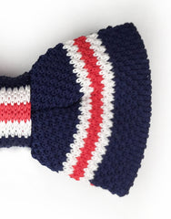 blue, red, white knit bow tie