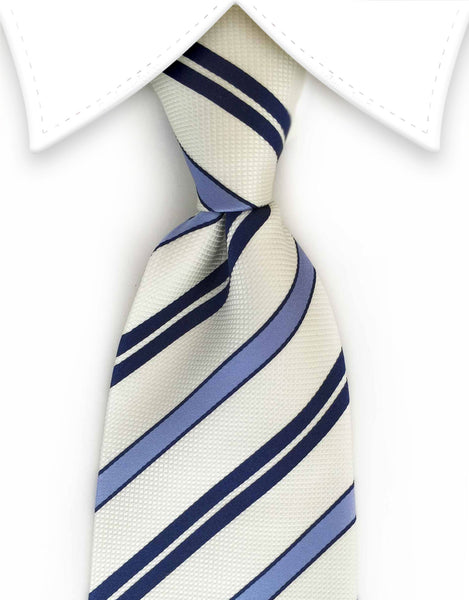 Navy, light blue and white repp stripe tie