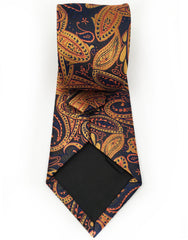 navy blue orange gold paisley tie