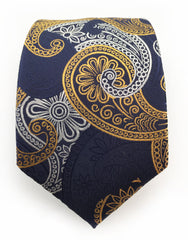 navy gold orange  silver paisley tie