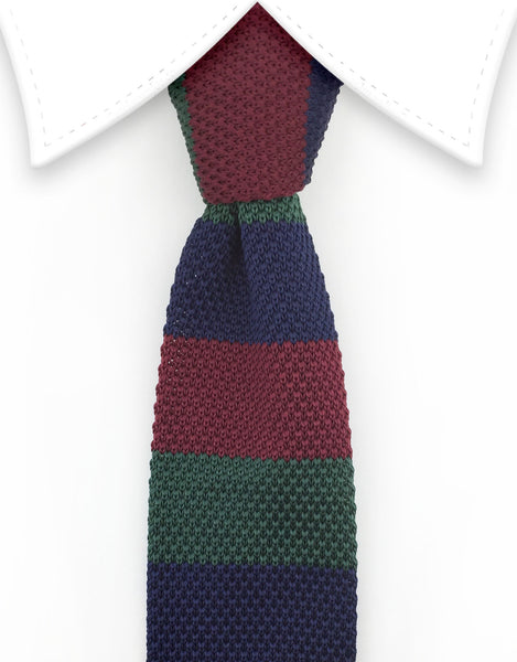 Navy blue, hunter green, burgundy knit tie