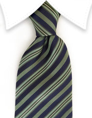 green and navy blue striped necktie