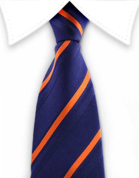 Boys Zipper Navy & Orange Silk Tie