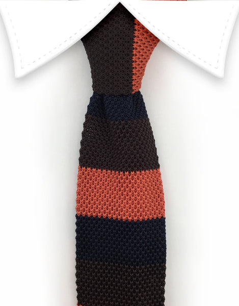 orange navy brown knit tie