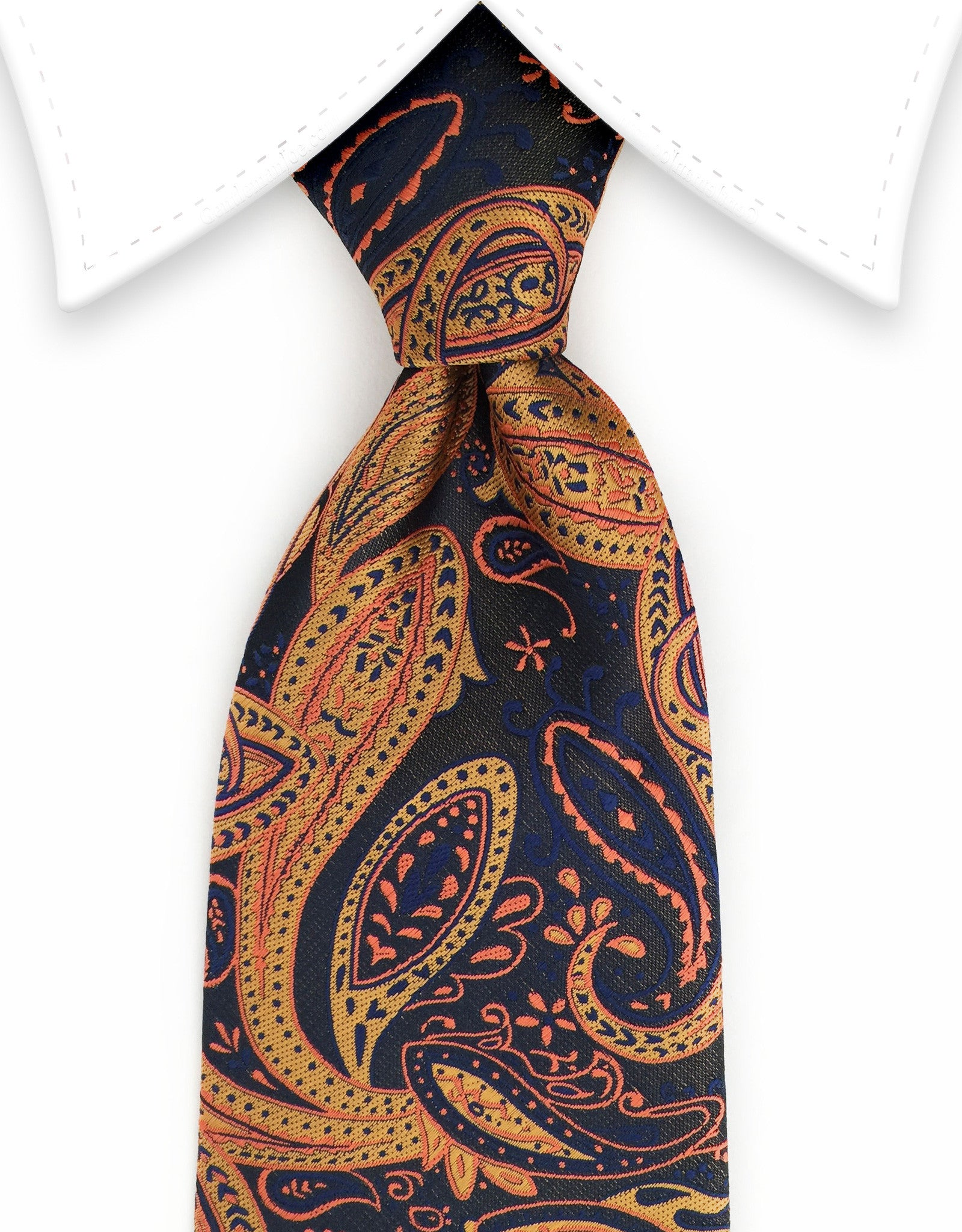 navy gold orange tie
