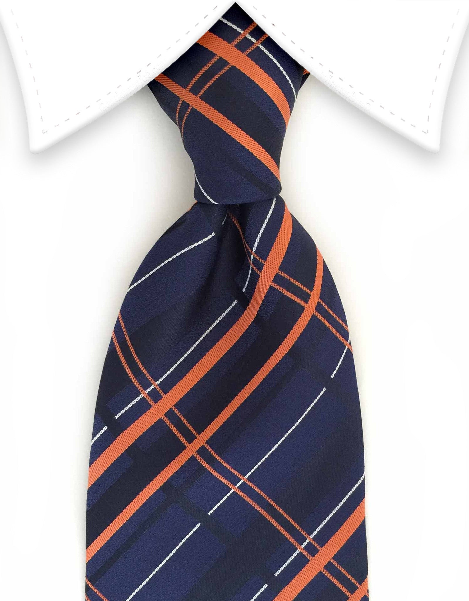 Navy blue and orange plaid necktie