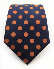 Navy & Orange Dot Tie