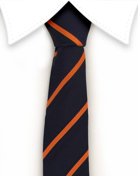 Navy and orange striped skinny tie