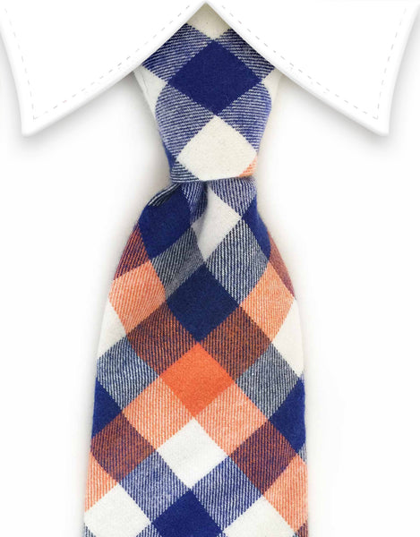 blue, orange and white cotton tie