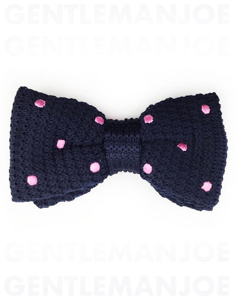 navy blue & pink polka dot bow tie