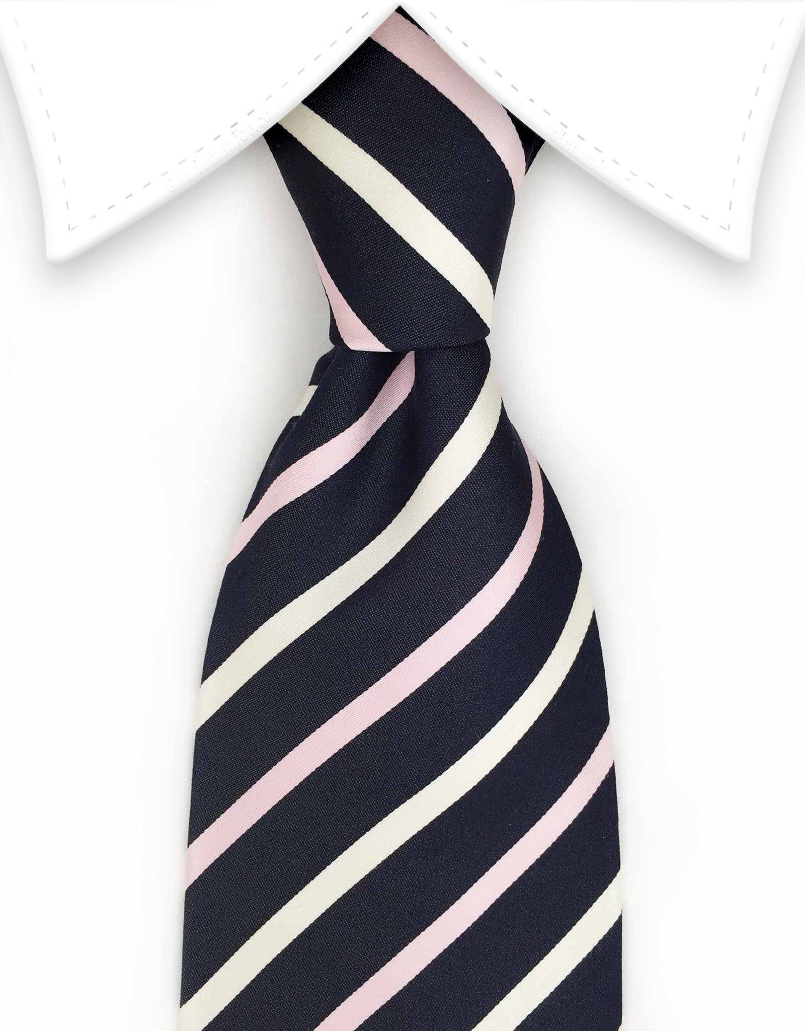 Navy, pink, white striped tie