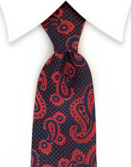 Navy and Raspberry Red Paisley Tie