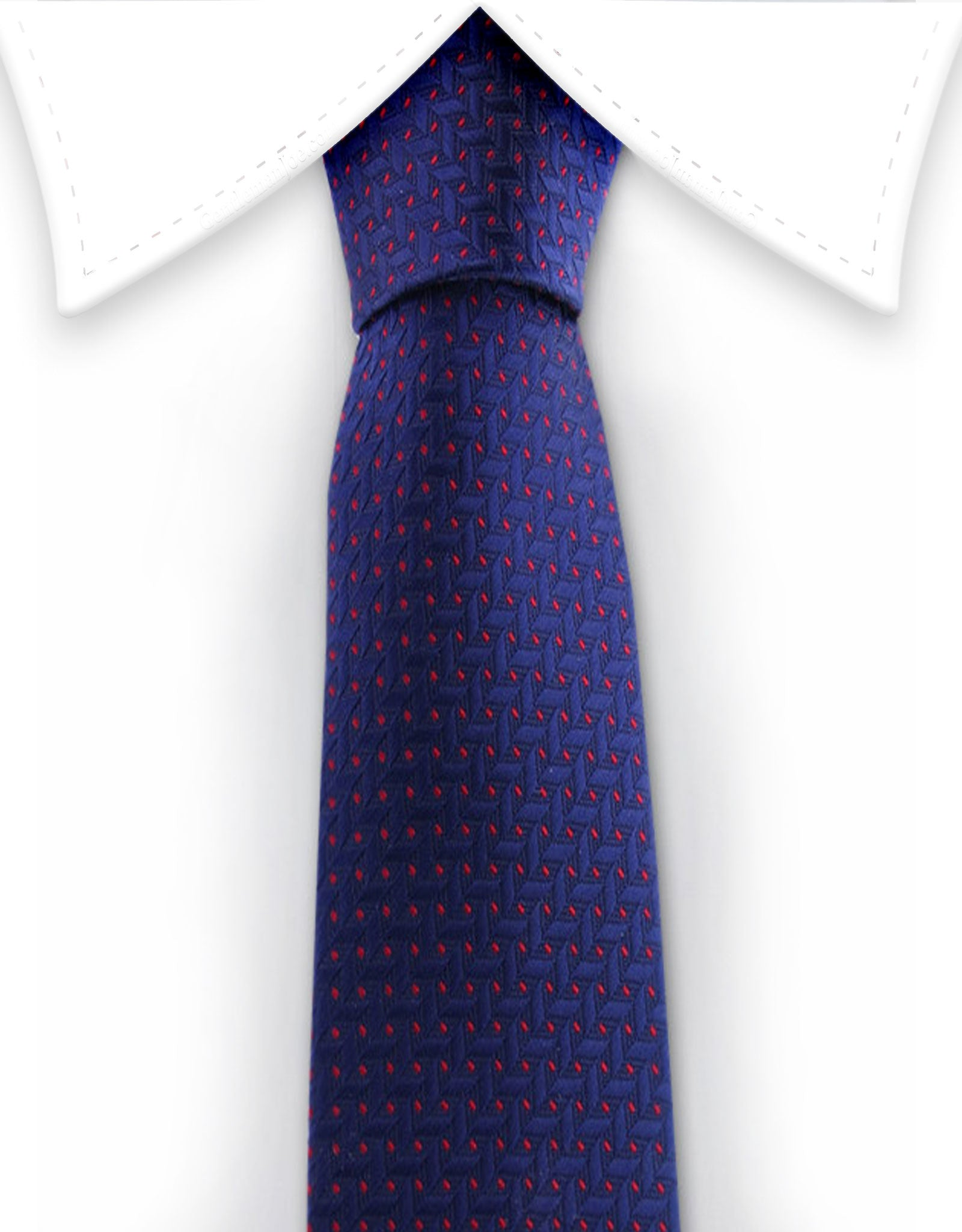 Navy blue tie with red flecks