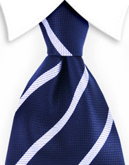 Navy blue & silver striped tie