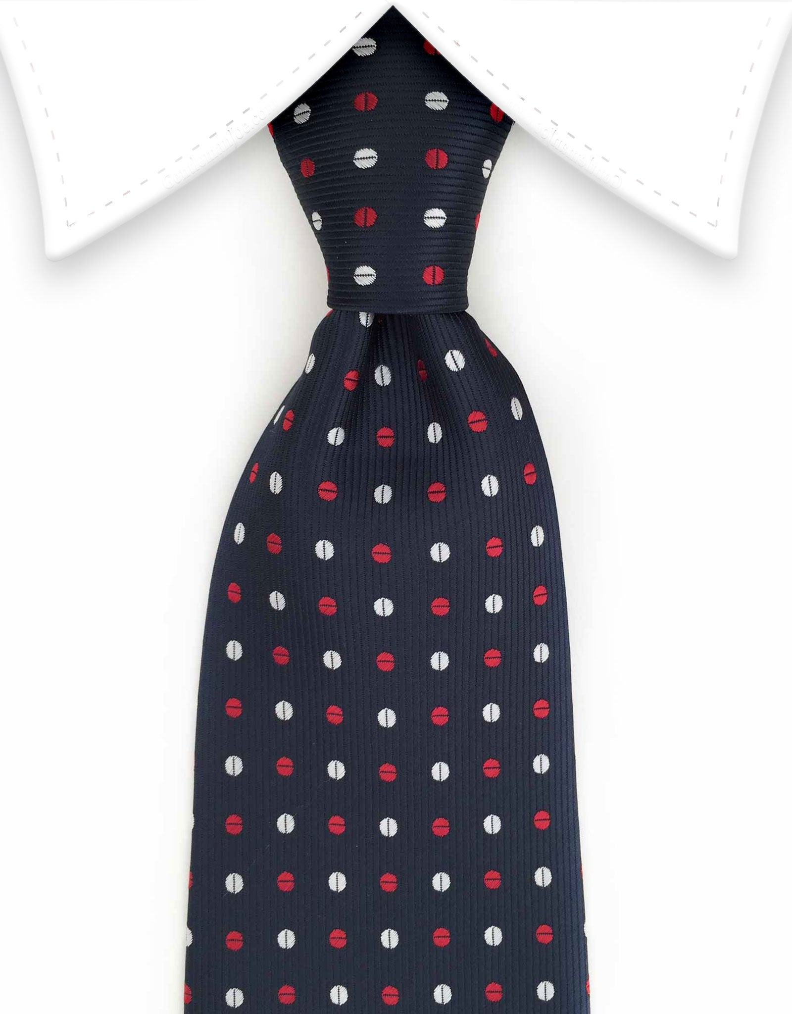 navy tie with red and white dots