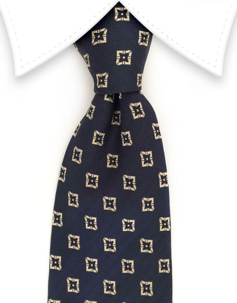 Navy blue tie with gold motif