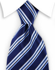 Navy blue & yellow striped tie
