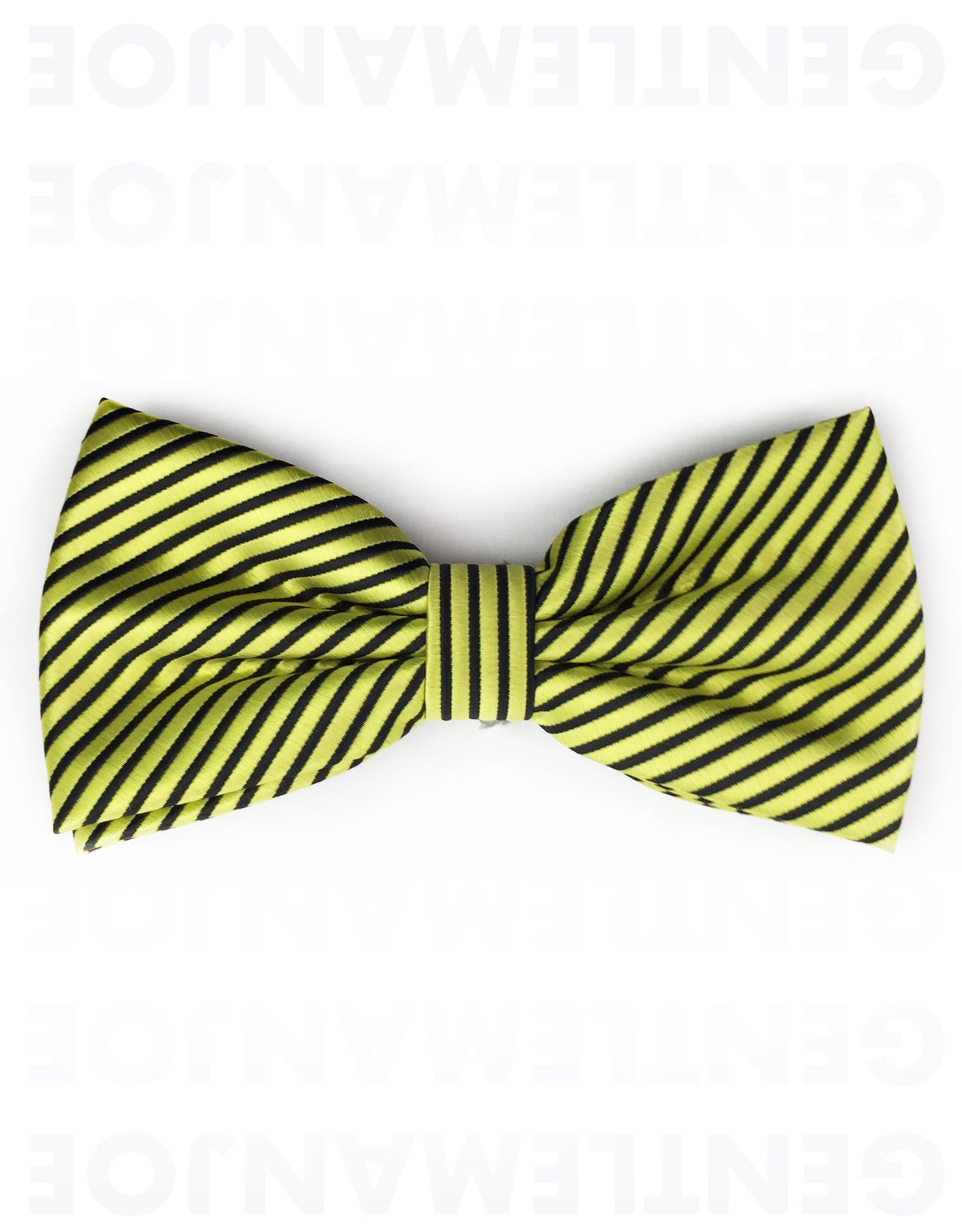 yellow and black pinstriped bow tie