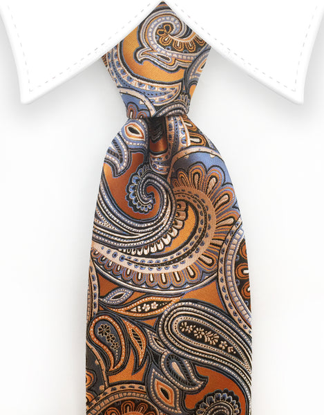 orange blue paisley tie