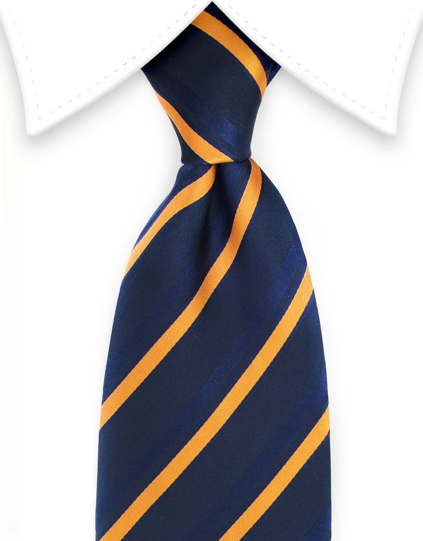 Navy Blue & Orange Striped Men's Zipper Tie