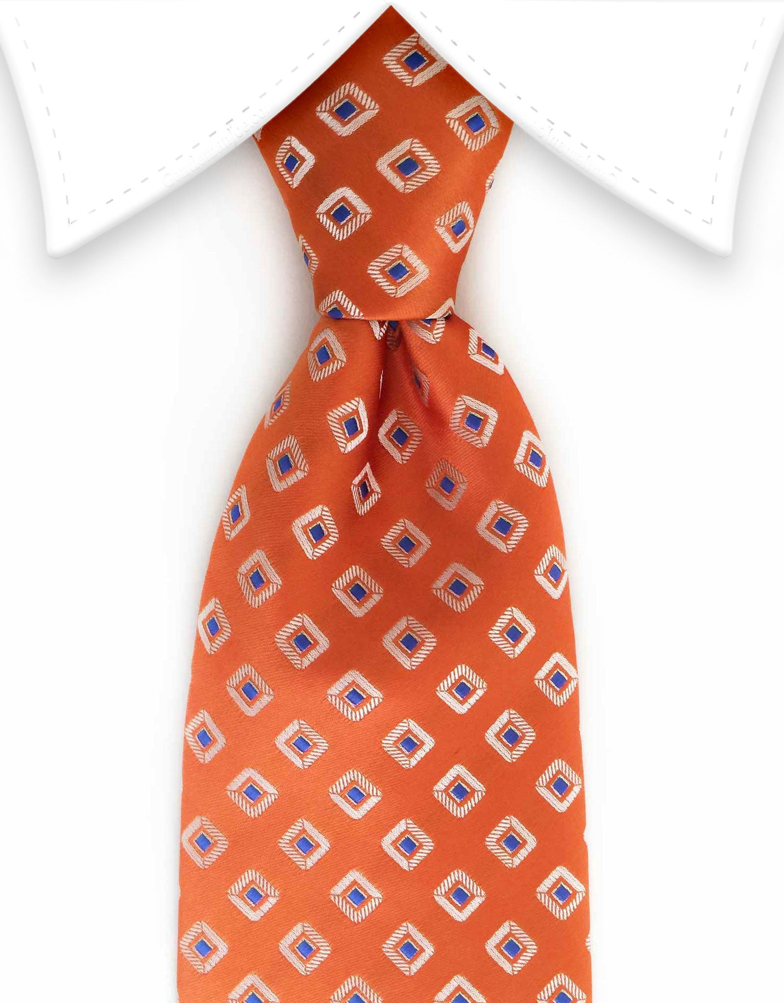Orange blue square pattern solid tie compact