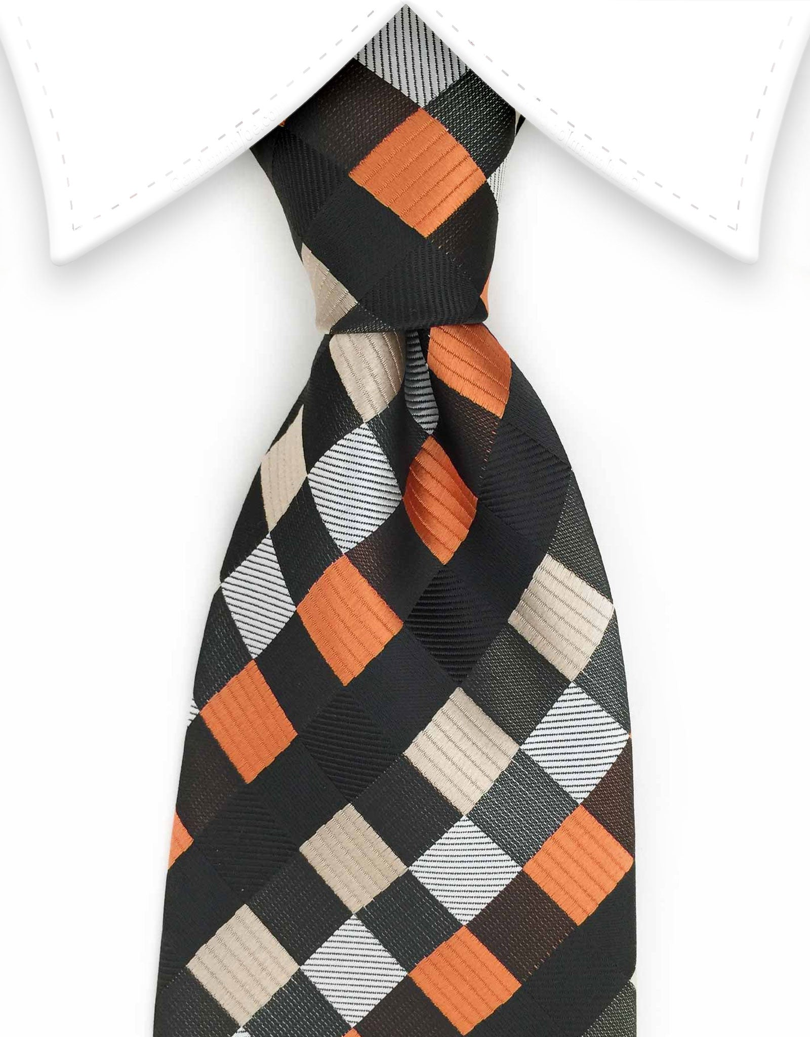 brown, orange, black, silver taupe silk tie