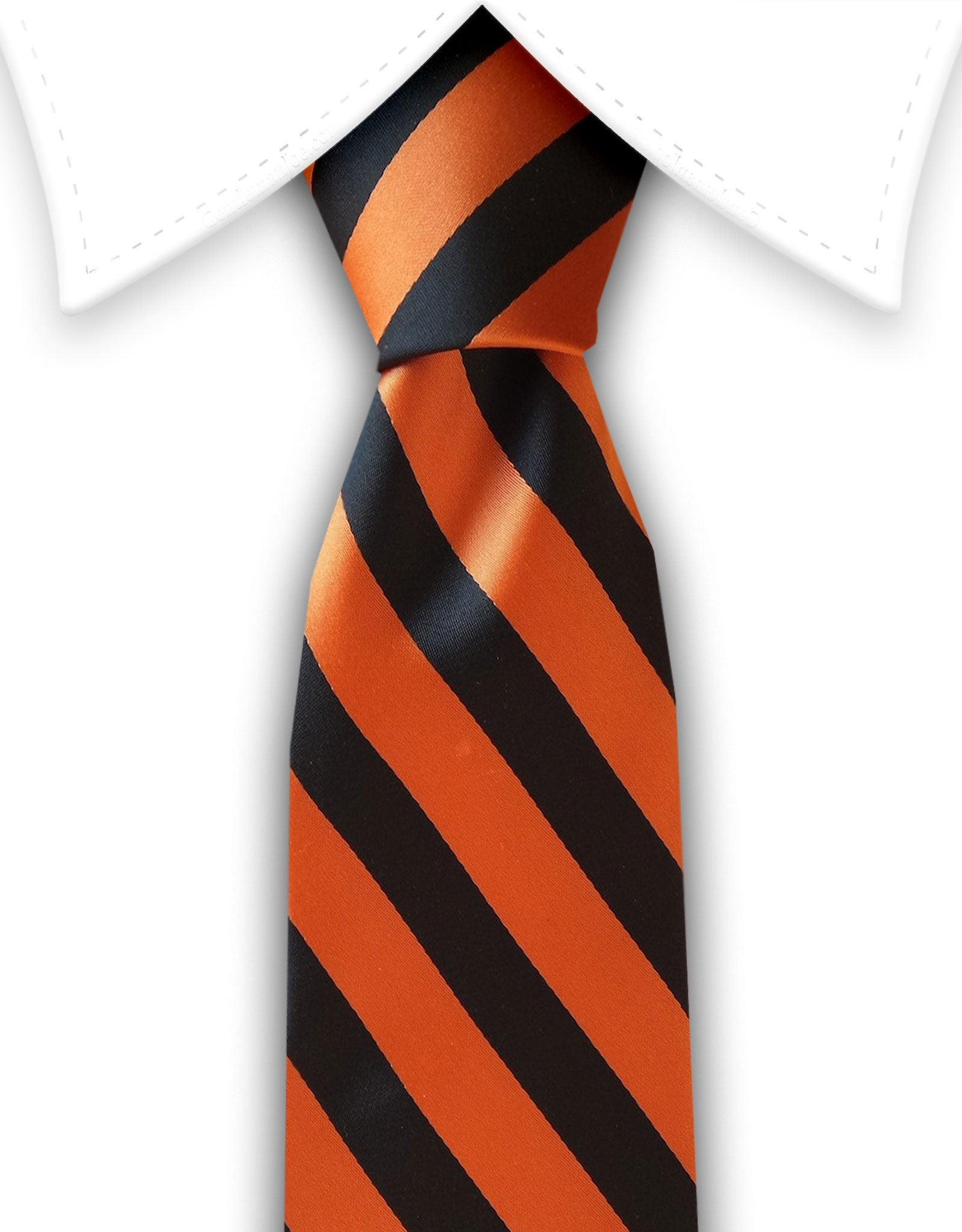 orange and black stripe tie