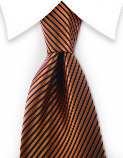 Orange black pinstriped tie