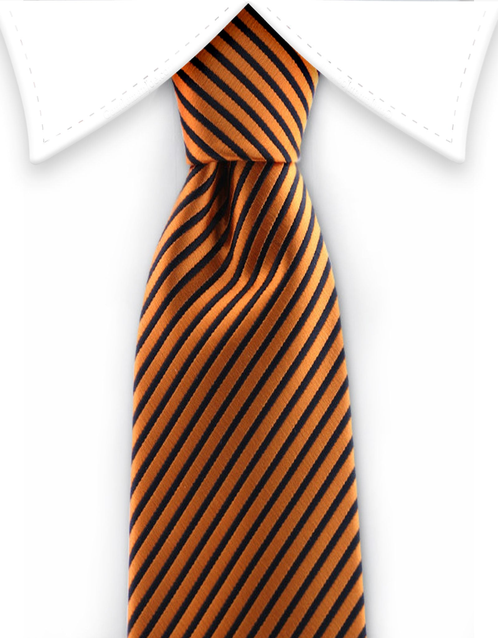 orange & black pinstriped skinny necktie