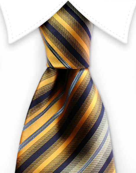 golden orange striped tie