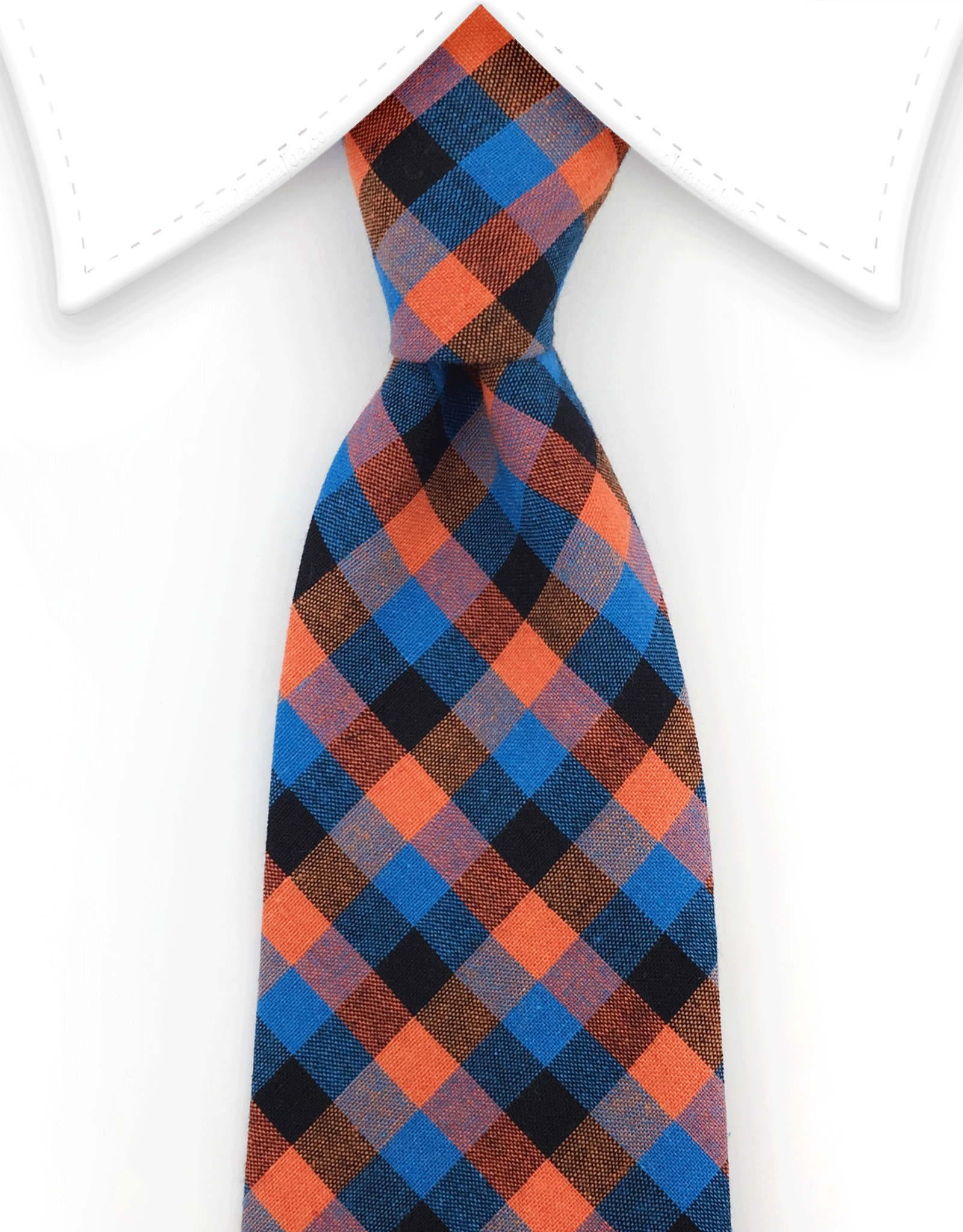 Orange & Blue Cotton Necktie