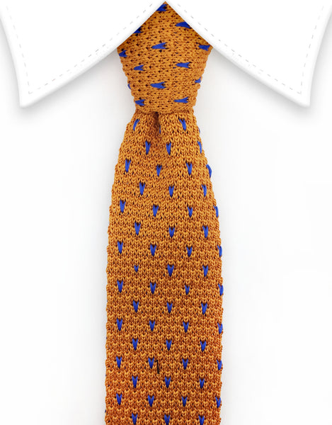 Orange & Blue Knitted Tie