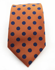 Orange & Navy Polka Dot Tie