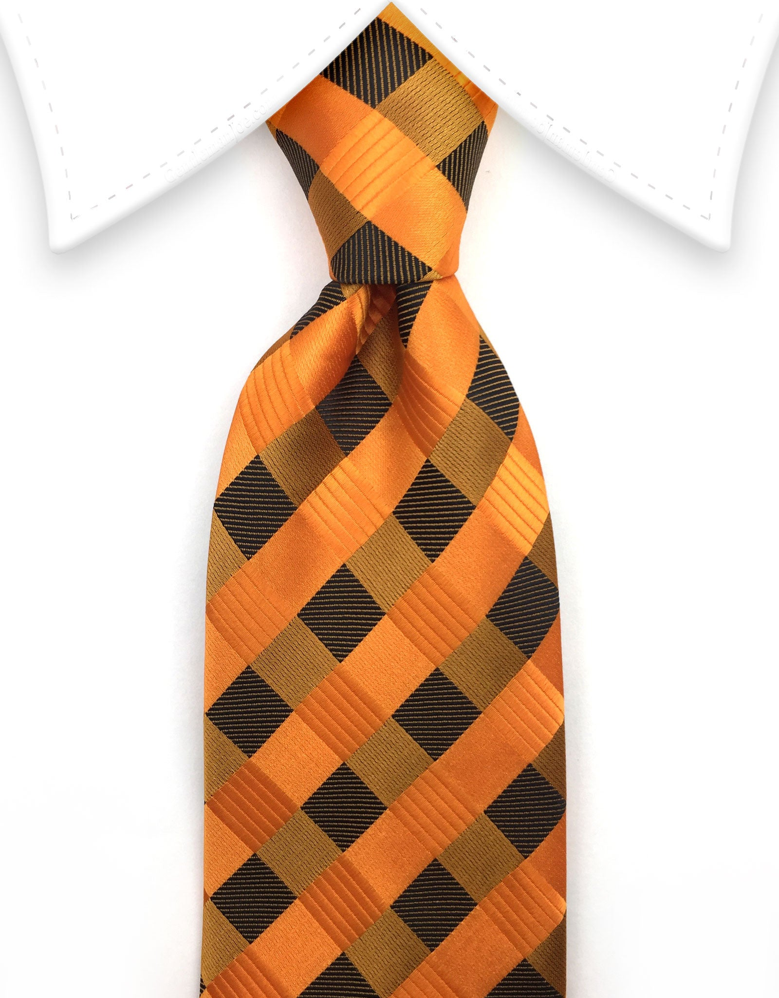 Orange and brown checkered tie
