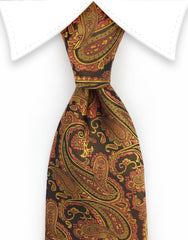 orange gold paisley tie