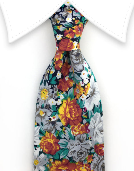 Orange, White, Green Floral Tie