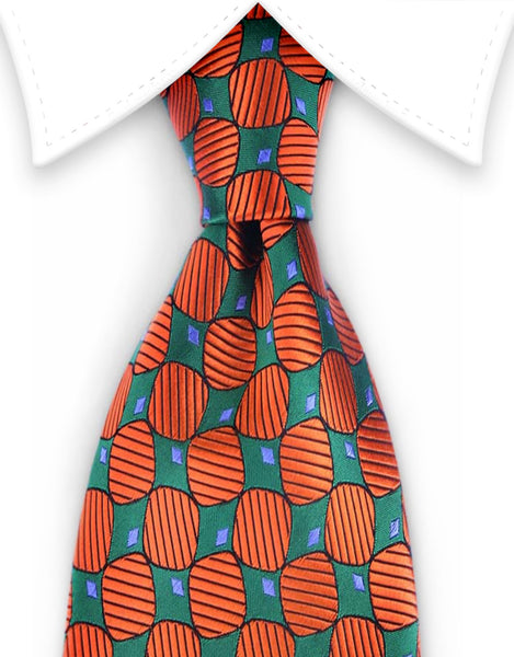 Gentleman Joe Orange and Green Extra Long Tie